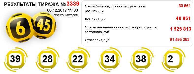 Результаты тиража № 3339